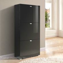 Glance Black 3 Drawer High Gloss Shoe Cabinet (HF-EY08191)